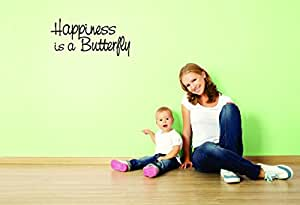 Best Selling Cling Transfer Decal - Happiness Is A Butterfly Text Lettering Life Quote Bedroom Living Room Home Decor Picture Art Size :20 Inches x 40 Inches