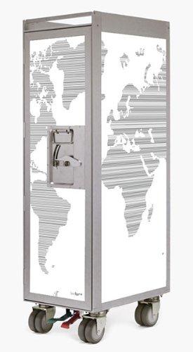 bordbar Trolley - silver edition worldmap black - weiß mit schwarzen Linien - Leer ohne Zubehör