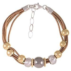 Silvex Women's Silver Multi Strand Mesh Bracelet, 21 cm