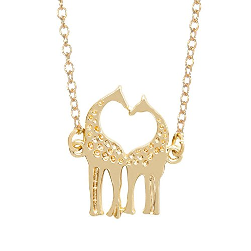 - MIXIA Minimalist Double Kissing Giraffes Necklace Abstract Simple Animal Pendant (gold)