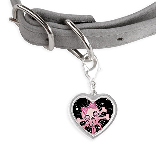 CafePress - Pink Neon Skull IPAD Pet Tags - Small Heart Pet Tag (Neon Skull And Crossbones)