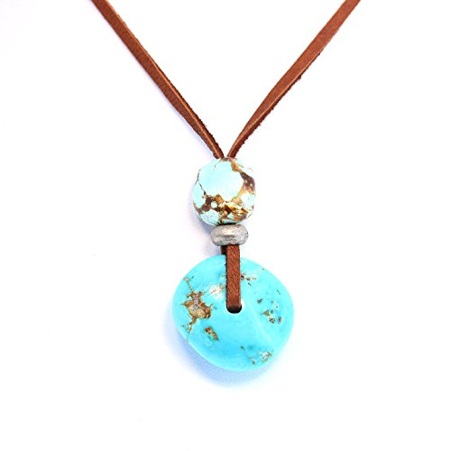 Nevada Leather (TURQUOISE 2 STONE NECKLACE Sterling Leather Nevada Turquoise)