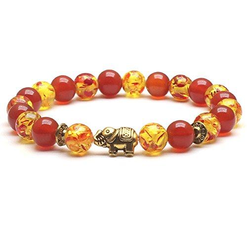 Weelovee Meditation Protection Healing Bracelet,100% Nature Stone for Buddhist Prayer Chakra Hematite Beads Elephant -