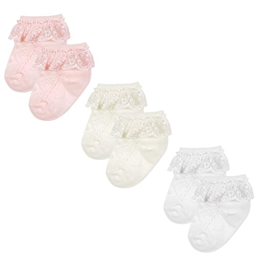 Wrapables Precious Lace Cuff Socks for Baby (Set of 3), Small