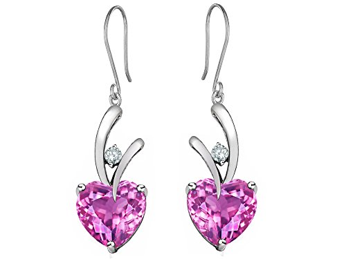 Star K 8mm Heart Shape Created Light Pink Sapphire Hanging Hook Love Earrings (Hanging Sapphire)