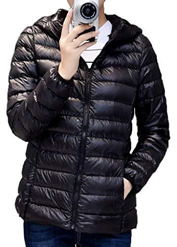 Cappotti Giacca Con Casual Giacche Slim Manica Tasche Piumini Vintage Schwarz Laterali Fashion Lunga Colore Donna Piumino Puro Incappucciato Cerniera Invernali Trapuntata Autunno Ragazza Fit AT1nfWq