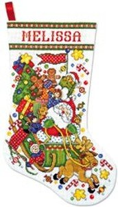 """Santa & Sleigh Stocking Counted Cross Stitch Kit - 17"""" Long 14 Count"""
