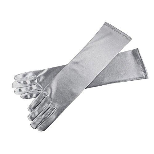 Silver 15'' Elbow Length Multi Color Long Satin Gloves -