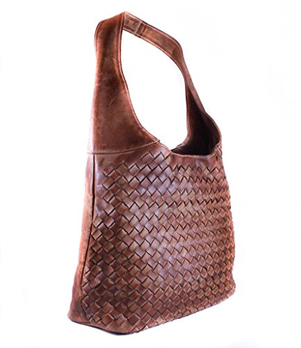 Shoulder Style With Brown Leather Womens Capacity Bag Zipper High Quality Weaver High nz8PCwxq0