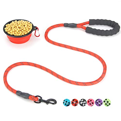 U2Paw Gift Set for Dog Walking, Car Travel, Hiking, Camping - 5 FT Reflective Dog Leash and Collapsible Dog Cat Bowl,Red