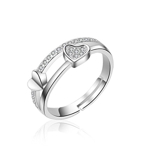 (Balakie Open Ring, Heart Crystal Hollow Love Ring Adjustable Wedding Promise Band Gift (Silver, Free Size))