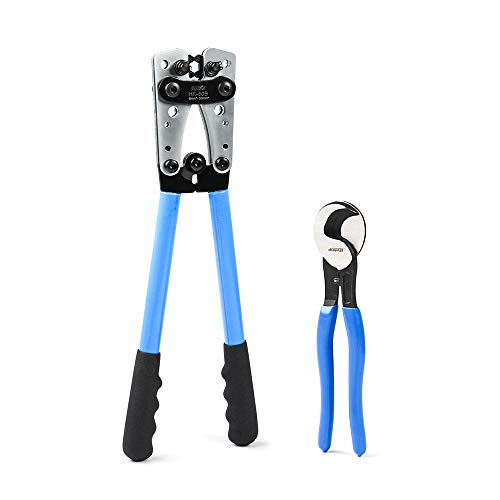 Crimping Tool Crimp - IWISS Battery Cable Lug Crimping Tools Hand Electrician Pliers for Crimping Wire Cable from 6-50mm²(AWG 10-1/0) with Cable Cutters-Thickened and Reinforced the Metal Plate!!