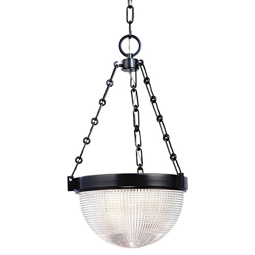 Winfield 2-Light Pendant - Satin Nickel Finish with Clear Pressed Prismatic Glass Shade ()