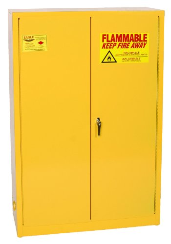 Eagle 1947 Safety Cabinet for Flammable Liquids, 2 Door Manual Close, 45 gallon, 65''Height, 43''Width, 18''Depth, Steel, Yellow by Eagle