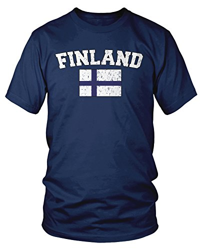 Amdesco Men's Finnish Finn Flag, Home Flag of Finland T-shirt, Navy Blue Medium Finland Flag T-shirt