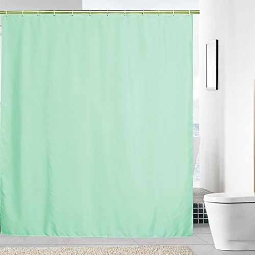 Solid Color Fabric Shower Curtain - YUUNITY Solid Color Polyester Fabric Shower Curtain with Hooks Waterproof Washable 72