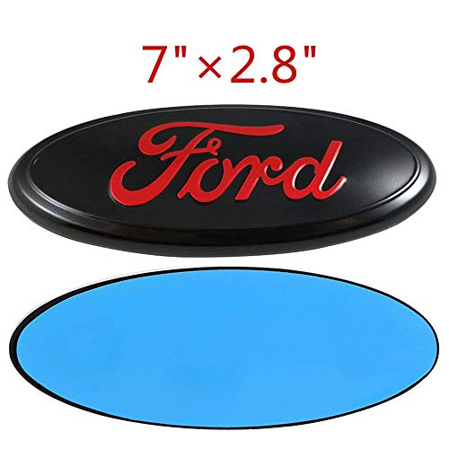 1 New 7 Inch Front Grille Tailgate Emblem 3D Oval 3M Double Side Adhesive Tape Sticker Badge for Ford Escape Excursion Expedition Freestyle F-150 F-250 F350 (Black+Red) ()