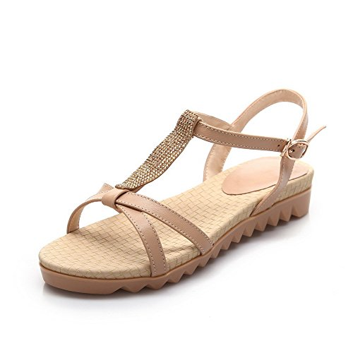Solid Soft Leather Sandals heels Buckle Open Low Apricot AmoonyFashion Womens Toe UqfEww5