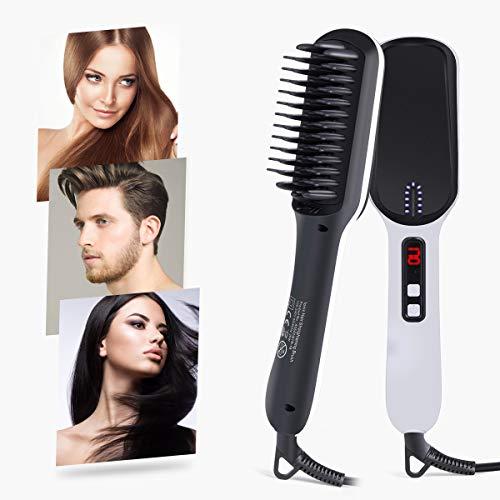Veru ETERNITY Hair Straightener Brush, Ionic Ceramic Heat Brush with LED Display, Fast PTC System, Nylon Bristles for Hair & Beards