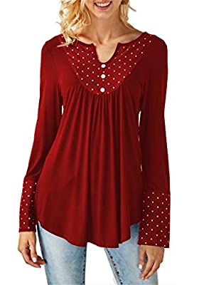 onlypuff Long Sleeve Blouse Tunic Tops Dots for Women V-Neck Flare Ruffle Hem Pleated Buttons Stretchy Soft