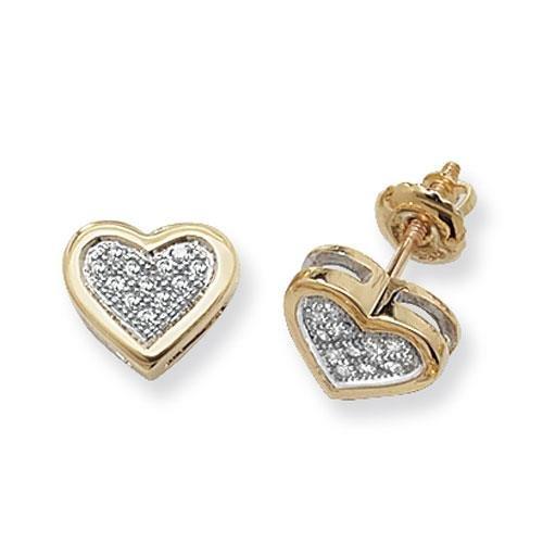 Boucles d'oreilles clous Cœur Diamant 9ct SI2-I10.12ct
