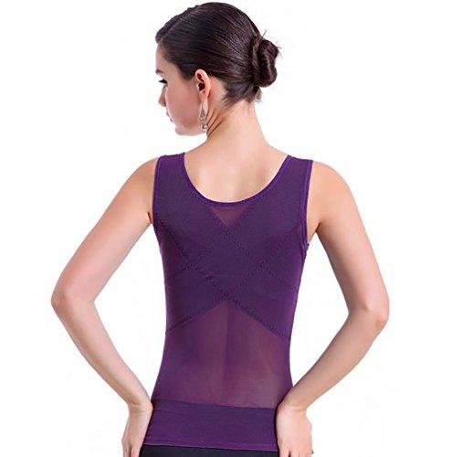 ZKOO Mujer Underbust Adelgazante Forma Camiseta Moldeadora Ropa Interior Adelgazamiento Chaleco Morado