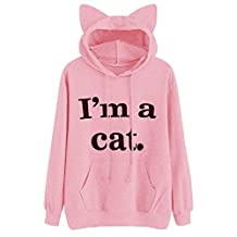 HOT SALE!Napoo Women I'm a cat Letter Print 3D Cat Ear Hooded Pocket Sweatshirt (M=(US S), Pink)