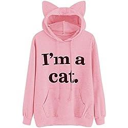 HOT SALE!Napoo Women I'm a cat Letter Print 3D Cat Ear Hooded Pocket Sweatshirt (XXL=(US XL), Pink)