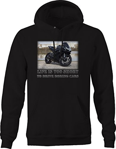 OS Gear Life is Too Short to Drive Boring Cars - Motorcycle Street Bikes Gsxr Sweatshirt - Large (Gsxr Bike Street)