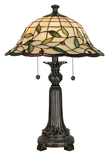 (Dale Tiffany TT60574 Donavan Table Lamp, Mica Bronze and Art Glass Shade)