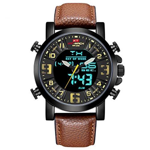 Men Sport Leather Watches Luminous Watch Fuctional Sport Analog Digital Wristwatches Waterproof Watches