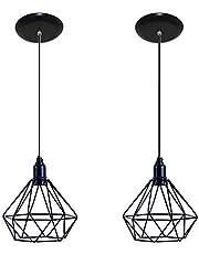 Kit com 02 Luminarias Pendente Aramado Modelo Diamante - Preto