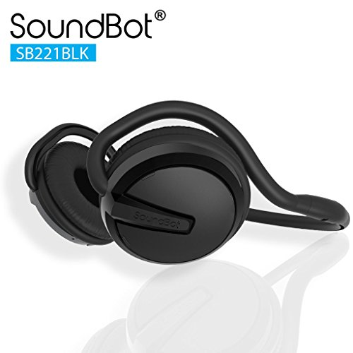 SoundBot SB221 HD Wireless Bluetooth 4.0 Headset Sports-Active Headphone for 20Hrs Music Streaming & 25Hrs HandsFree Calling w/Sweat Resistant Ergonomic Secure-Fit Design & Voice Command Support