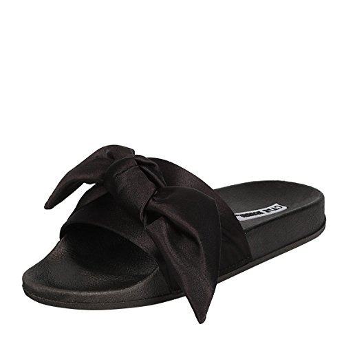 Flat Toe Satin Shoes Slip Sandal Open Flop Bow CAPE Black ROBBIN Slide Women on Slipper Flip qW0I6wnztw