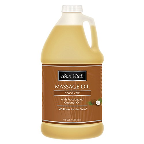 Massage Oil by Bon Vital, Coconut Massage Oil Made with 100% Pure Fractionated Coconut Oil to Repair Dry Skin, Used by Massage Therapists and at-Home Use for Therapeutic Massages and Relaxation, 1/2 G