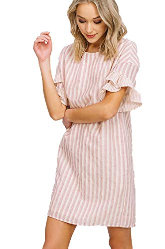 Stripe Ruffle Shift Dress Pink and White Boho Baby Doll for Work or Play (Small) ()