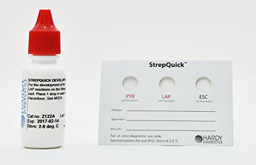 StrepQuick, to Aid in the Identification of Gram Positive Cocci, Performs a PYR, LAP, and Esculin Test, 25 Tests per Kit, by Hardy Diagnostics, Shipped via Ground Only by Hardy Diagnostics