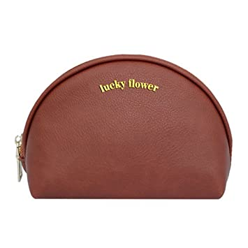 31b51356c239 LUCKY FLOWER Makeup Bag Half Moon PU Leather Cosmetic Bag for Purse(Reddish  Brown)