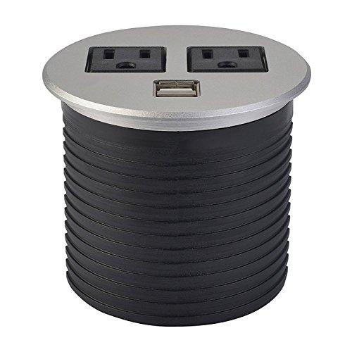 UL Listed Desktop Recessed Power Grommet Hub 2 Power Outlets & Dual USB Ports for Kitchen Office Desk Table (Brushed Metal)