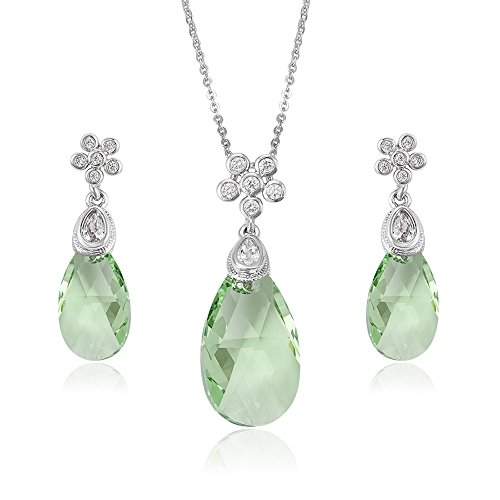 Swarovski Crystal Apple - Barbara Giles Crystals from Swarovski 'Raindrop-falling-off-A-Flower' Jewellery Set - Office Jewellery or Party Jewellery - Apple Green - Excellent as a Gift Idea