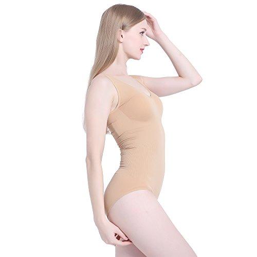 LastFor1 Women's Tank Brifes Seamless Slimming Shapewear Tummy Control Bodysuit(XL, Skin 001)