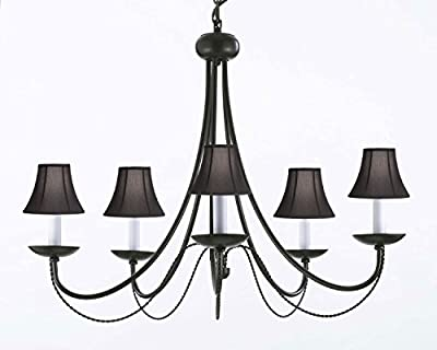 """Wrought Iron Chandelier Chandeliers Lighting With Black Shades! H22"""" x W26"""" SWAG PLUG IN-CHANDELIER W/ 14' FEET OF HANGING CHAIN AND WIRE!"""
