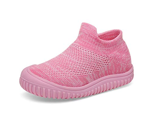 Toddler Girl Shoes Baby Walking Memory Foam Knit Mesh Sock Sneakers (8.5 Toddler, Pink)