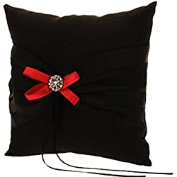 Wedding Ring Pillow Wedding Ring Cushion Ring Bearer Pillow,Black & Red,7.8 7.8 inch