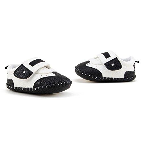 Tefamote Zapatos Botines Cuero de Suela Blanda Cuna Ocio Para Bebé Recién Nacido Niño niña Negro