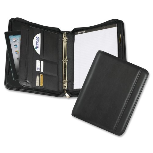 Wholesale CASE of 5 - Samsill Professional Zipper Pad Holder/Ring Binder-Zipper Binder w iPad Pocket, Letter, 1'' Capacity, Black by SAM