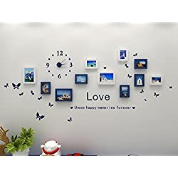 Hello Artwork Fashion Wooden Photo Picture Frame Wall Collage Set of 10 Modern with Wall Clock Decal