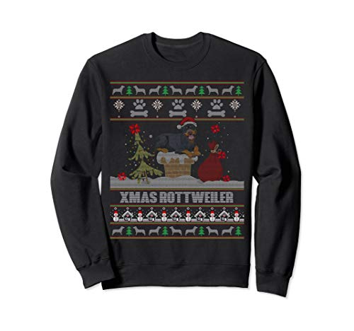 - Ugly Sweater Xmas Sweatshirt. Rottweiler Dog Lovers