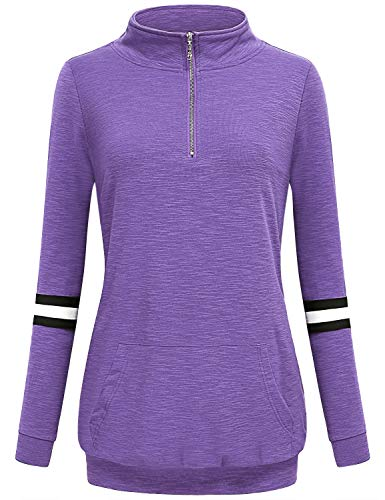 (AxByCzD Pullover for Women,Zip Front Collared Long Sleeve Female Chic Elegant Relaxed Fit Career Work Office Sweatshirt Tops Casual Wear Comfy Fall Winter Outfits Tunic Blouse Shirts Purple XX-Large)