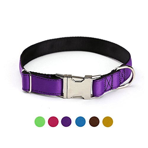 ComSaf Vivid Double Layer Nylon Dog Collar with Metal Buckle for Large Dogs Darkorchid